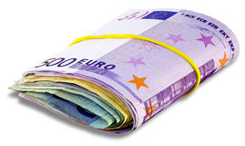 Bundle of Euro banknotes. Isolated on a white background with Clipping Path Royalty Free Stock Image