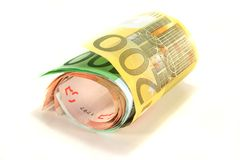 Bundle of Euro notes. A bundle of Euro banknotes on a white background Royalty Free Stock Photo