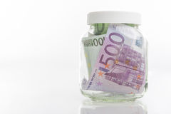 Bundle of European Currency Banknotes Put in Jar Stock Images