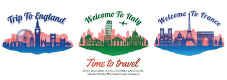 Bundle of famous landmark of the Europe with silhouette style on float island,travel and tourism stock illustration