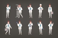 Bundle of female doctor, physician or surgeon standing in different postures. Set of woman in white coat holding medical. Equipment - syringe, thermometer Stock Images