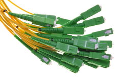 Bundle of fiber optic cable SC. Bundle of fiber optic cable with green plugs SC Royalty Free Stock Images