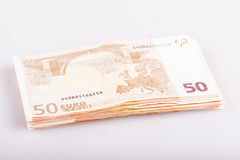 Bundle of fifty euro banknotes Royalty Free Stock Images