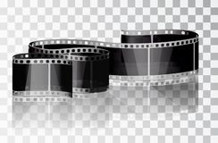 Bundle film on a transparent background. Isolated object. Cinema film. Vector illustrations. Realistic 3D film. Curved film Stock Image