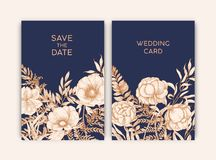Bundle of floral templates for Save the Date card or wedding invitation decorated with blooming garden flowers hand royalty free illustration