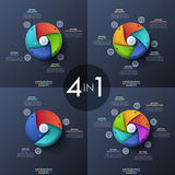 Bundle of four infographic design templates, circular diagrams with 3, 4, 5 and 6 spiral elements, start button in. Center, icons and text boxes. Features of Stock Photography