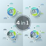 Bundle of four round diagrams with 3, 4, 5 and 6 colorful overlapping elements placed around center, pictograms and text. Boxes. Realistic infographic design Royalty Free Stock Images