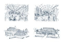 Bundle of freehand drawings of greenhouses full of jungle plants. Set of sketches of glasshouses with palm exotic trees Stock Photography