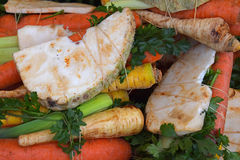 Bundle of fresh cut vegetables on market. Bundle of assorted fresh cut vegetables and herbs mix for cooking carrot, celery, parsnip, parsley, leek on retail Stock Images