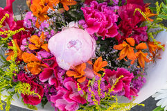 Bundle of fresh flowers at the market Stock Photo