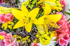 Bundle of fresh flowers at the market Royalty Free Stock Photography