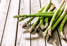 Bundle of fresh green asparagus shoots Stock Photo
