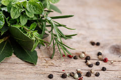 Bundle of fresh Kitchen Herbs Stock Photos