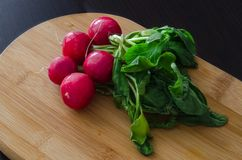 Bundle of fresh radishes with green leaves. On light and dark background Royalty Free Stock Photo