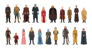 Bundle of Game of Thrones novel and TV series male and female fictional characters. Set of men and women dressed in. Fantasy clothes isolated on white royalty free illustration