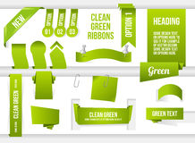 Bundle of Green Web Elements Stock Photo