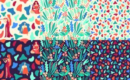 Bundle of hand drawn seamless vector patterns with beautiful female silhouettes, abstract shapes and floral elements on stock illustration