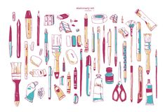 Bundle of hand drawn stationery or writing utensils. Set of writing and art supplies isolated on white background - vector illustration
