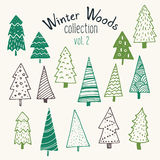Bundle of hand illustrated Christmas trees. Stock Images