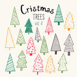 Bundle of hand illustrated Christmas trees. Royalty Free Stock Photo