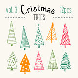 Bundle of hand illustrated Christmas trees. Stock Photography