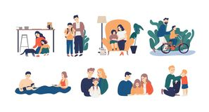 Bundle of happy loving family scenes. Good parenting and nurturing. Care, trust and support between parents and children. Mother and father educating and stock illustration
