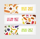Bundle of horizontal banner templates with bakery, fast food or snacks and grocery products discount on white background. Colorful vector illustration for vector illustration