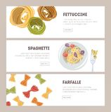 Bundle of horizontal web banner templates with different types of raw and prepared pasta hand drawn on white background. Fettuccine, spaghetti, farfalle Stock Photography