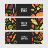 Bundle of horizontal web banner templates with tasty locally grown vegetables and place for text on black background Stock Illustration