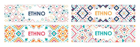 Bundle of horizontal web banners decorated with traditional American Indian ornaments or trendy geometric patterns in. Ethnic style. Vector illustration with Stock Photo