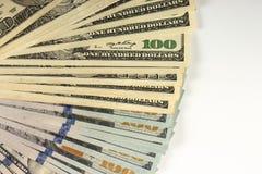Bundle of hundred dollar banknotes on a white background stock image