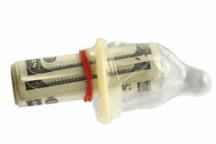 Bundle of hundred dollar bills. Inside a condom Stock Photography