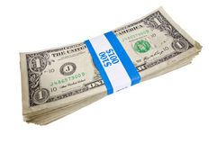 Bundle of A Hundred One Dollar Bills. A bundle of a hundred one dollar bills with a blue and white band around it Royalty Free Stock Photo