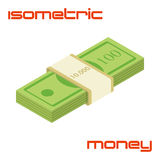 Bundle of hundreds cash dollars. Bundle of cash. Hundreds of dollars - vector isometric illustration Stock Photo