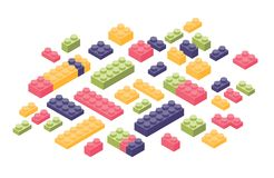 Bundle of isometric colorful constructor details or parts isolated on white background. Plastic interlocking toy bricks. Or building blocks for children s royalty free illustration