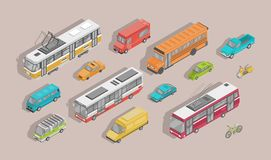 Bundle of isometric motor vehicles isolated on light background - car, scooter, bus, tram, trolleybus, minivan, bicycle stock illustration