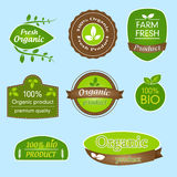 Bundle of labels for bio, organic, all natural food and eco-friendly products. Set of eight product labels in green, brown and white design. Stickers mark Royalty Free Stock Photo