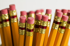 Bundle of lead pencils showing erase Stock Images