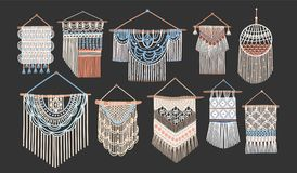 Bundle of macrame wall hangings isolated on black background. Set of handcrafted house decorations in Scandinavian style. Made of interwoven cord. Flat cartoon vector illustration