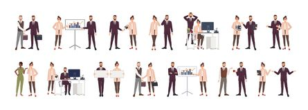 Bundle of male and female office workers, clerks or managers talking to each other, negotiating, discussing work issues stock illustration