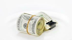 Bundle of many 100 dollar bank notes Stock Photos