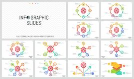 Bundle of minimalist infographic design layouts. Round elements with arrows placed around shooting target, goal. Achievement concept. Vector illustration for Stock Photography