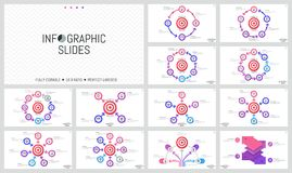 Bundle of minimalist infographic design layouts. Round elements with arrows placed around shooting target, goal. Achievement concept. Vector illustration for Royalty Free Stock Photo