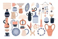 Bundle of modern ceramic household utensils and tools or pottery - cups, dishes, bowls, vases, jugs. Set of items for royalty free illustration