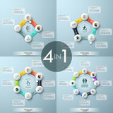 Bundle of 4 modern infographic design templates. Four round diagrams with links combined to closed circular chains, central element, icons and text boxes Stock Image