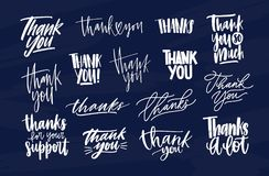 Bundle of modern Thank You inscriptions or gratitude phrases written with various decorative calligraphic fonts. Set of. Lettering decorated with cute elements stock illustration