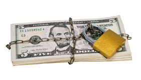 Bundle of money closed lock and chain. Royalty Free Stock Image