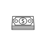 Bundle of money coin line icon, finance business. Bundle of money coin line icon, finance and business, dollars sign vector graphics, a linear pattern on a white Stock Image