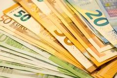 A bundle of money 100, 50 and 20 euros. Face value banknotes 100, 50 and 20 Euro. Money of the European Union stock photos
