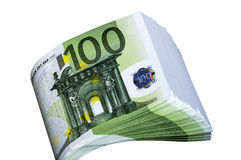 Bundle of money 100 euros on a white background. Stock Photos